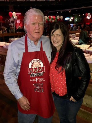 Brian Burke, President Hockey Operations, Calgary Flames + myself supporting the 14th Annual Eric Francis Pizza PigOut Fundraiser in support of KidSport, Cowboy's Casino October 19 2016