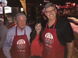 Brian Burke, President Hockey Operations, Calgary Flame, Mike Cvik, retired NHL Linesman + myself supporting the 14th Annual Eric Francis Pizza PigOut Fundraiser in support of KidSport, Cowboy's Casino October 19 2016