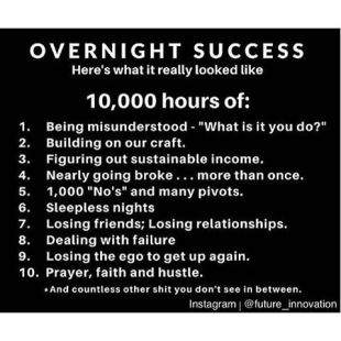 10,000 hours...overnight success or what?